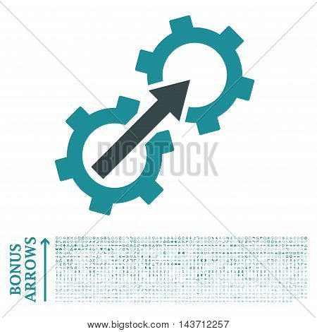 Gear Integration icon with 1200 bonus arrow and direction pictograms. Vector illustration style is flat iconic bicolor symbols, soft blue colors, white background.