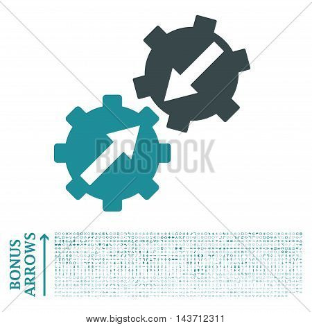 Gear Integration icon with 1200 bonus arrow and navigation pictograms. Vector illustration style is flat iconic bicolor symbols, soft blue colors, white background.