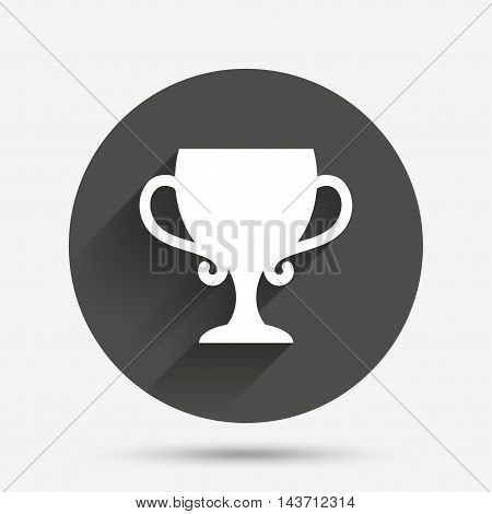 Winner cup sign icon. Awarding of winners symbol. Trophy. Circle flat button with shadow. Vector