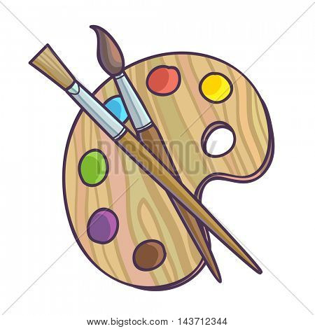 Art palette with paint brush for drawing vector illustration. Isolated on white.