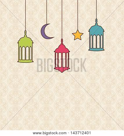 Illustration Islamic Background with Arabic Hanging Lamps for Ramadan Kareem - Vector