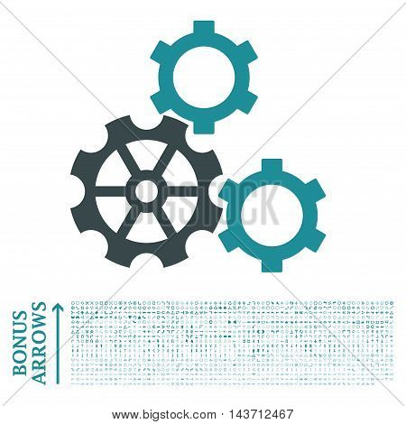 Gears icon with 1200 bonus arrow and direction pictograms. Vector illustration style is flat iconic bicolor symbols, soft blue colors, white background.