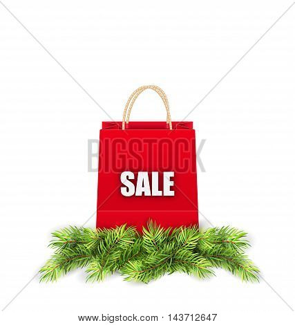 Illustration Christmas Shopping Sale Bag with Fir Branches - Vector
