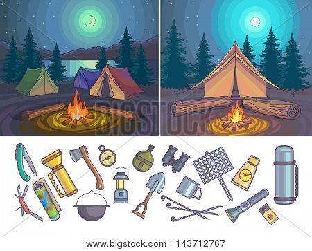 Camping Infographic set with backgrounds and objects. Vector illustration.
