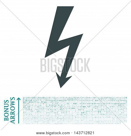 High Voltage icon with 1200 bonus arrow and direction pictograms. Vector illustration style is flat iconic bicolor symbols, soft blue colors, white background.