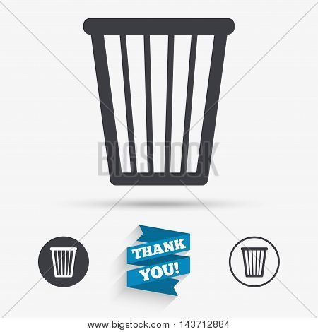 Recycle bin sign icon. Bin symbol. Flat icons. Buttons with icons. Thank you ribbon. Vector