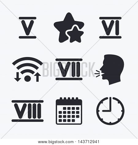 Roman numeral icons. 5, 6, 7 and 8 digit characters. Ancient Rome numeric system. Wifi internet, favorite stars, calendar and clock. Talking head. Vector