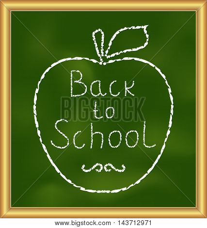 Illustration Back to school background with text and apple - vector