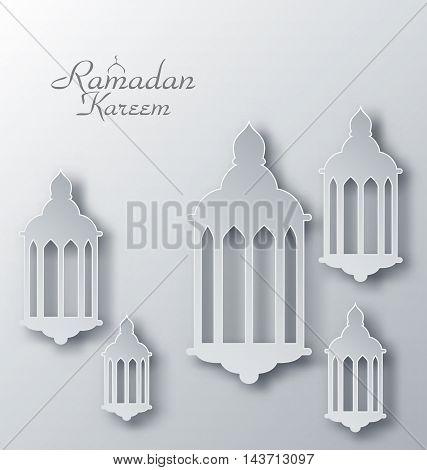 Illustration Paper Arabic Lamps with Shadows for Ramadan Kareem - Vector