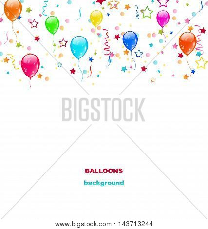Illustration Party Colorful Balloons, Confetti for Happy Birthday - vector