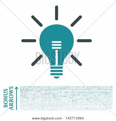 Light Bulb icon with 1200 bonus arrow and direction pictograms. Vector illustration style is flat iconic bicolor symbols, soft blue colors, white background.