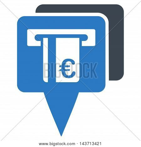 Euro Atm Pointers icon. Glyph style is bicolor flat iconic symbol with rounded angles, smooth blue colors, white background.