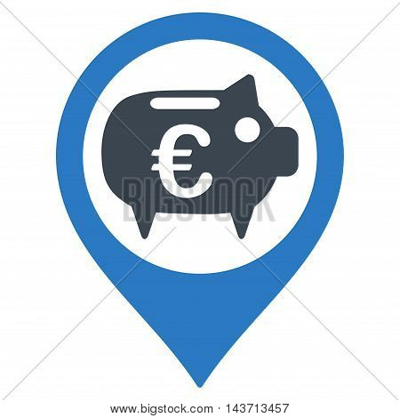 Euro Bank Pointer icon. Glyph style is bicolor flat iconic symbol with rounded angles, smooth blue colors, white background.