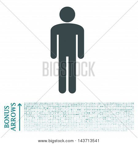 Man icon with 1200 bonus arrow and direction pictograms. Vector illustration style is flat iconic bicolor symbols, soft blue colors, white background.