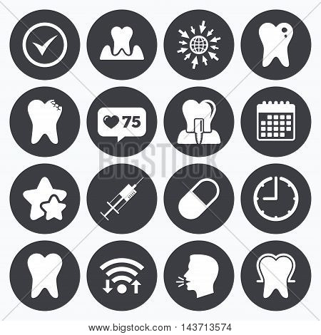 Calendar, wifi and clock symbols. Like counter, stars symbols. Tooth, dental care icons. Stomatology, syringe and implant signs. Healthy teeth, caries and pills symbols. Talking head, go to web symbols. Vector