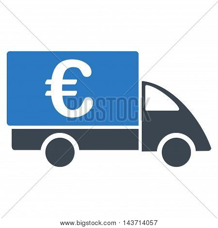 Euro Collector Car icon. Glyph style is bicolor flat iconic symbol with rounded angles, smooth blue colors, white background.