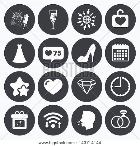 Calendar, wifi and clock symbols. Like counter, stars symbols. Wedding, engagement icons. Locker with heart, gift box and fireworks signs. Dress, heart and champagne glass symbols. Talking head, go to web symbols. Vector
