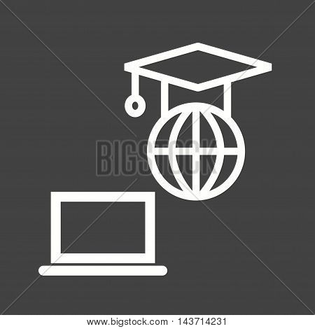 Global, technology, students icon vector image. Can also be used for E Learning. Suitable for mobile apps, web apps and print media.
