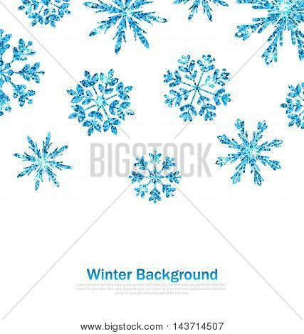 Illustration Winter Background with Sparkle Snowflakes for Celebration Card, Glittering Elements, Blue Luxury Background - Vector