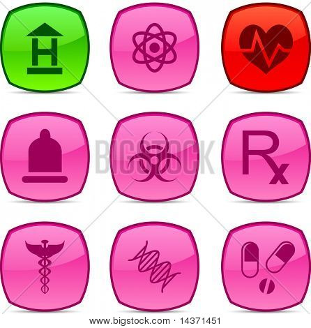 Medical  glossy icons. Vector buttons.