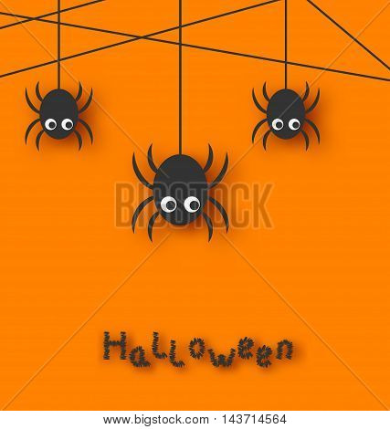 Illustration Cute Funny Spiders and Cobweb for Halloween, Simple style with Shadows - Vector