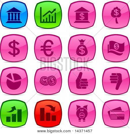 MOney  glossy icons. Vector buttons.