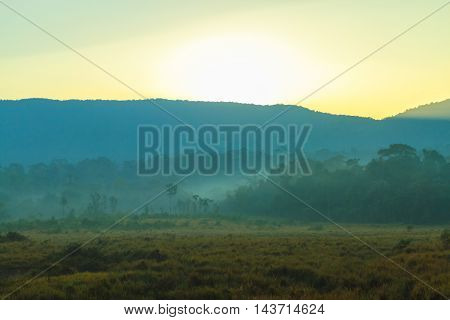 Sunrise behind the mountain at Khao Yai national park (a unesco world heritage site) Thailand.