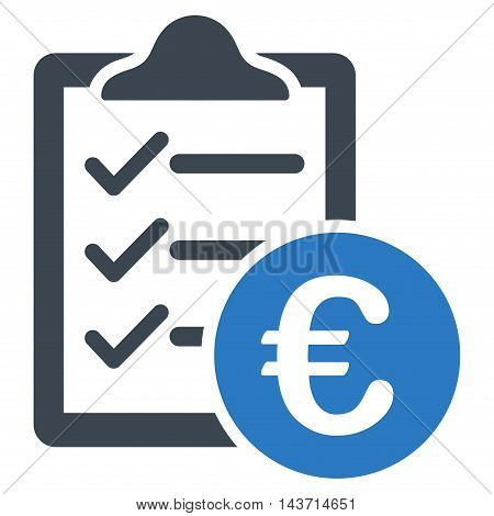 Euro Purchase Pad icon. Glyph style is bicolor flat iconic symbol with rounded angles, smooth blue colors, white background.
