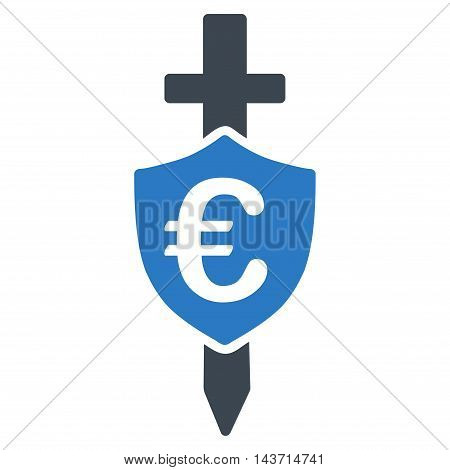 Euro Shield icon. Glyph style is bicolor flat iconic symbol with rounded angles, smooth blue colors, white background.