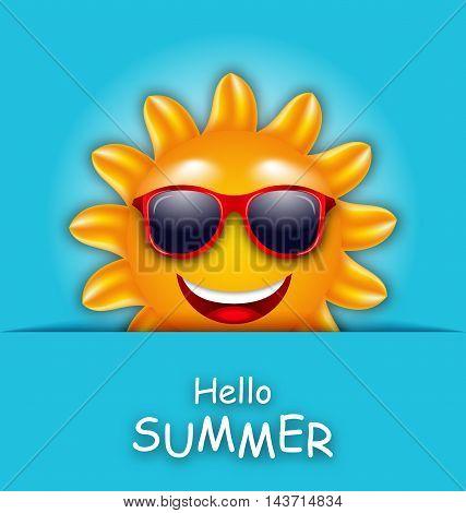 Illustration Cool Summer Sun in Sunglasses, Beautiful Card - Vector