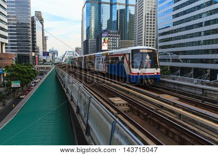 BANGKOK THAILAND - DECEMBER 20: A cityscape of Bangkok with BTS skytrain on December 20 2015 in Bangkok Thailand.