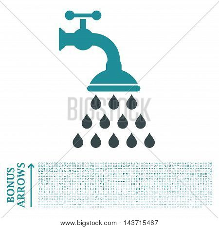 Shower Tap icon with 1200 bonus arrow and navigation pictograms. Vector illustration style is flat iconic bicolor symbols, soft blue colors, white background.