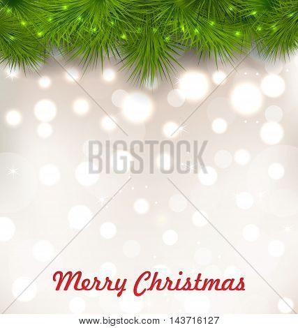 Illustration Christmas Illuminated Background with Realistic Fir Twigs - Vector