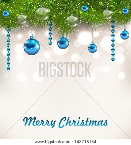 Illustration Christmas Shimmering Background with Fir Twigs and Glass Balls - vector
