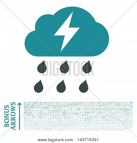 Thunderstorm icon with 1200 bonus arrow and navigation pictograms. Vector illustration style is flat iconic bicolor symbols, soft blue colors, white background.