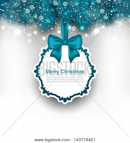 Illustration Christmas Greeting Card with Bow Ribbon and Fir Branches - Vector