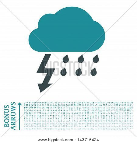 Thunderstorm icon with 1200 bonus arrow and direction pictograms. Vector illustration style is flat iconic bicolor symbols, soft blue colors, white background.