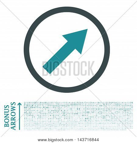 Up-Right Rounded Arrow icon with 1200 bonus arrow and navigation pictograms. Vector illustration style is flat iconic bicolor symbols, soft blue colors, white background.