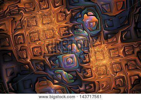 Abstract orange splashes and shining puzzles on black background. Fractal design in orange blue green and purple colors. 3D rendering.