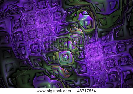 Abstract violet splashes and shining puzzles on black background. Fractal design in pink green and purple colors. 3D rendering.