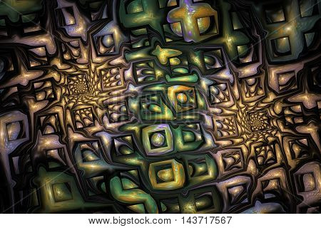 Abstract fantasy ornament on black background. Colorful fractal design in beige green and violet colors. 3D rendering.