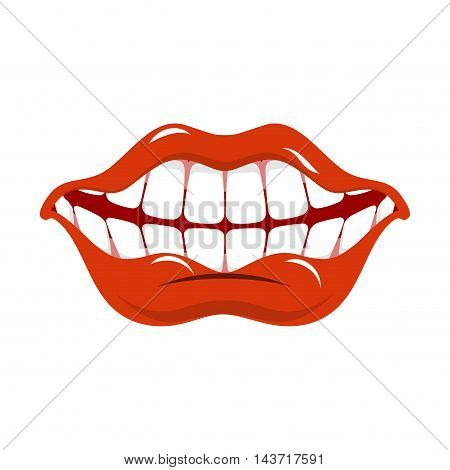 Cheerful Smile. Red Lips And White Teeth. Open Mouth