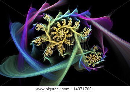 Magic spiral flowers. Abstract fractal design in blue pink green and yellow colors.