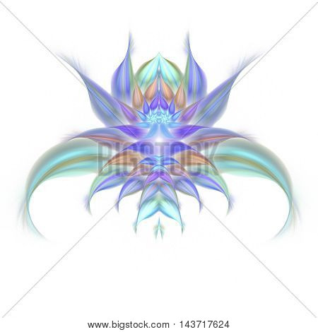 Abstract exotic flower on black background. Symmetrical pattern. Fractal illustration in pastel blue turquoise beige and violet colors.