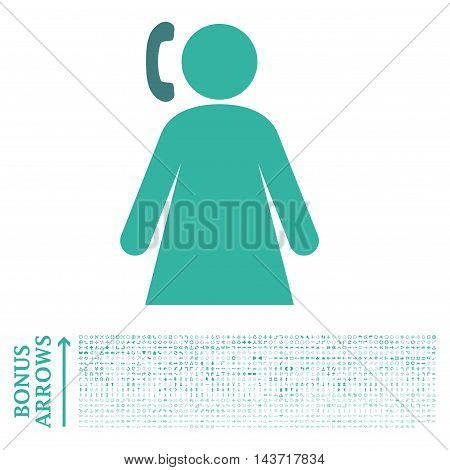 Calling Woman icon with 1200 bonus arrow and direction pictograms. Vector illustration style is flat iconic bicolor symbols, cobalt and cyan colors, white background.