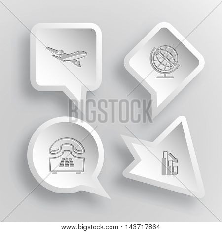 4 images: airliner, globe, push-button telephone, graph degress. Business set. Paper stickers. Vector illustration icons.