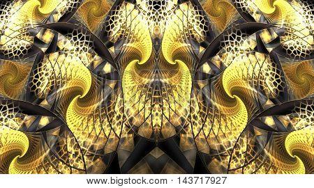 Golden curls. Abstract mosaic ornament. Symmetrical pattern. Fractal design in yellow grey white brown and black colors.