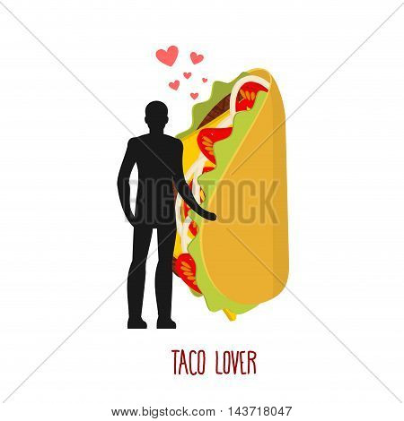 Lover Taco. Love To Mexican Food. Man And Fastfood. Lovers Holding Hands. Romantic Illustration Feed