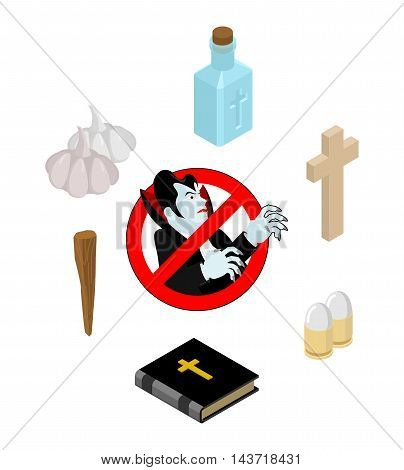 Stop Dracula. Set Of Tools For Extermination Of Vampires: Holy Water And Bible. Cross And Aspen Stak