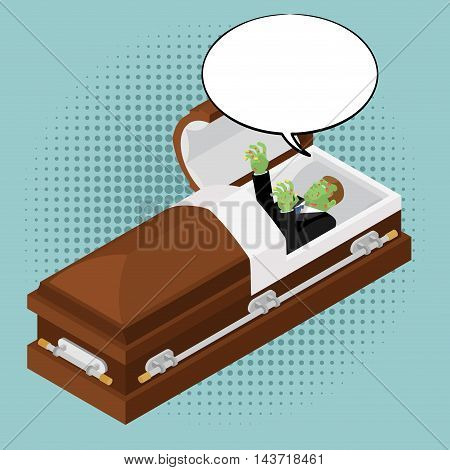 Zombies In Coffin In Pop Art Style. Green Dead Man In Wooden Shell And Bubble For Text. Corpse In Op